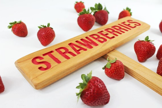 STRAWBERRIES Garden Sign, Painted & Oil Sealed Cedar Wood: Hand Routed, Red Garden Sign, Summer Fruit, Gardener Gift