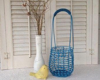 Twisted Iron Basket with Tall Handle / Teal Blue Table Top Country French Basket