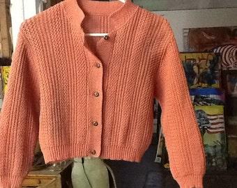 Vintage Women's Tangerine Colored Cardigan
