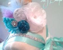 The Ultimate Queen Elsa Rosette Headband - M2M Queen Elsa Tutu Dress Aqua Sheer Teal Glitter Lavender Rhinestones Snowflake