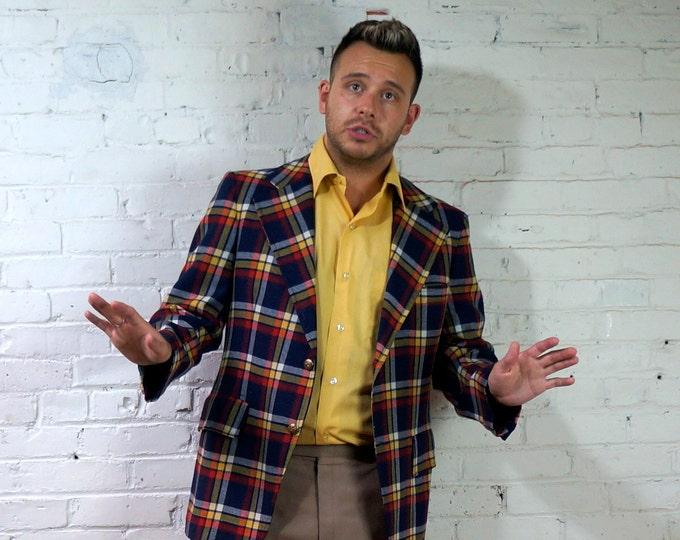 Tartan Plaid Blazer 1960s Vintage Wool Sport Coat Mens 39 Gold Button Ivy League Jacket Blue Red Yellow White Collegiate Blazer Craig Scott