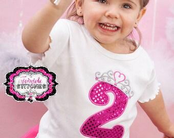 Princess Birthday Shirt, Crown Birthday Shirt, Girl Birthday Shirt, Birthday Shirt, Number Birthday Shirt, Princess Birthday