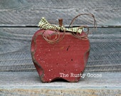 Fall Decor, Red Apple, Primitive Fall Decor, Rustic Harvest Decor, Teacher Gift, Apple Decor, Primitive Apple, Apple Kitchen Decor