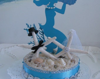 Mermaid Wedding Cake Topper - Starfish Wedding Cake Topper - Beach Wedding Cake Topper