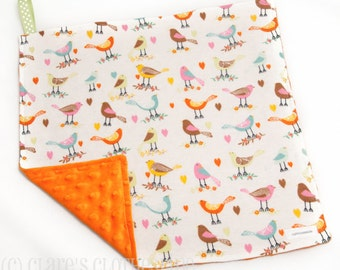 """Baby Lovey Blanket - Orange and Green Birds Lovey 15""""x15"""" - Ready to Ship"""