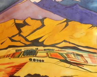 Martios Saryan painting silk scarf. . Hand painted salmon silk scarf. Made to order!