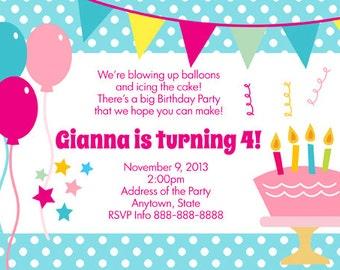 Polka Dot Birthday Cake Invitation Digital File 4X6 or 5X7