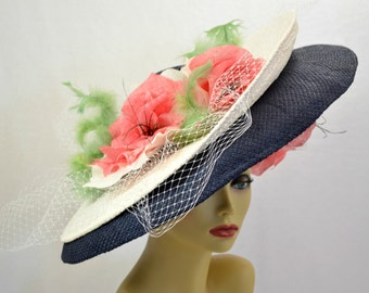 Derby Hat Navy White Straw Large Double Brim Flowers Feathers
