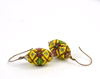 Sahara - Beaded Earrings Beaded Bead  Earrings African Style Yellow  Brown  Bronze Beadwork  Tribal  Folk  Multicolors Handmade Jewelry