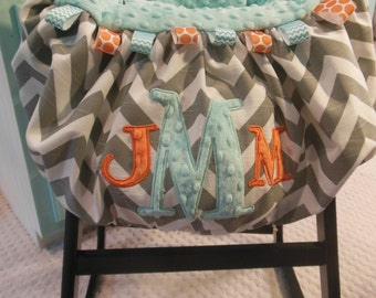 Applique Three Initial Shopping Cart Cover