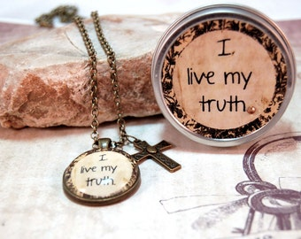 Affirmation Quote Pendant Necklace in Gift Tin I live my truth for friends mom teens