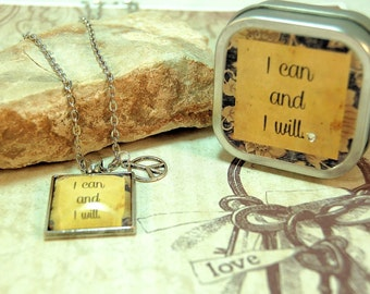 Affirmation Necklace in matching Gift Tin Mantra Quote I can and I will for dieters friends mothers teens