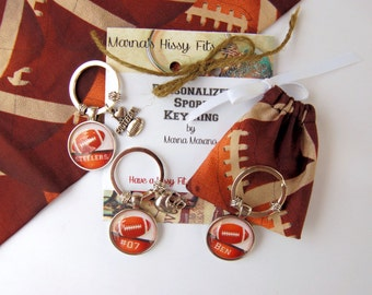 Football Key Ring Personalized Sports Key Chain with Charm in Matching Fabric Gift Bag for Boyfriends Jersey Numbers Sons Daughters Teams