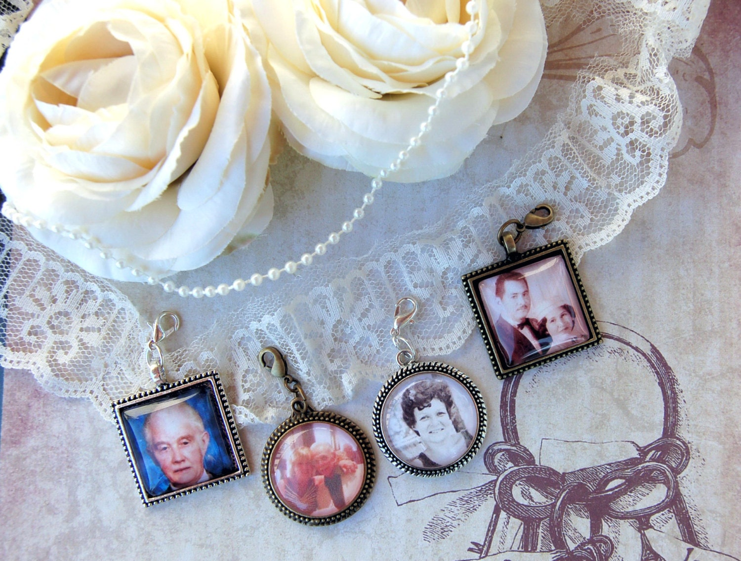 wedding photo charm bridal bouquet photo charm boutonni re