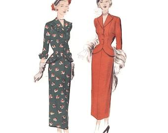 1950s Dress Pattern Advance 5130, Ladies Suit Dress, Nip Waist Jacket w/ Pleated Flange, Slim Skirt, Vintage Sewing Pattern Bust 32 Uncut