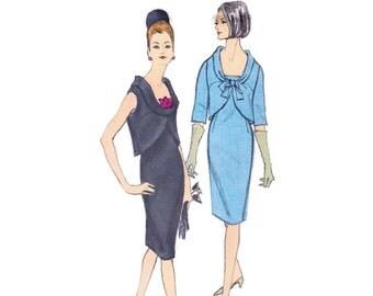 1960s Sheath Dress Pattern, Vogue 6383, Sleeveless Dress with Cutaway Petal Overblouse, Vintage Sewing Pattern, Bust 32, Uncut