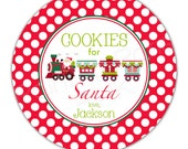 """Cookies for Santa or Reindeer Food Train Personalized 10"""" Melamine Plate or 12 oz. Bowl - Christmas Holiday"""