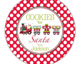 "Cookies for Santa or Reindeer Food Train Personalized 10"" Melamine Plate or 12 oz. Bowl - Christmas Holiday"