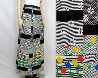 70's Skirt M / Hippie Skirt M / 60's Shirt 70's Skirt / Boho Skirt / Bohemian Skirt Wrap Skirt Hippie Maxi Skirt Vintage Maxi Hippie Skirt