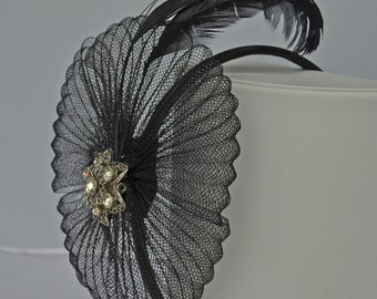 Handcrafted Black Hat Feathers Netting and Vintage Pin by Toby Jones