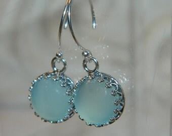 Chalcedony Earrings, Sterling Silver, Blue Stone Earrings