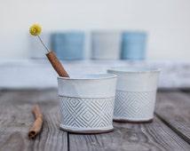 Ceramic Espresso Cup, coffee lovers gift, Modern Espresso Cups in white Geometric Pattern, ceramic tumbler, white tea mug, Holidays gift