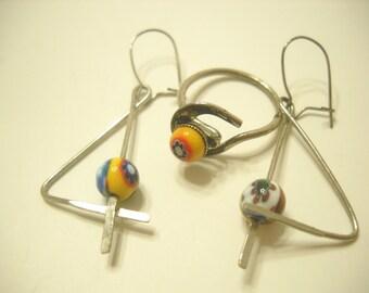 Vintage 1970s Beaded Pierced Earrings & Matching Ring (5194)