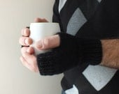 Knitted men mittens, mens black gloves, Winter 2014, men's fashion,gift for, valentines day gift,  handmade - UKLA
