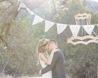 Country wedding decoration, Cream vintage lace bunting