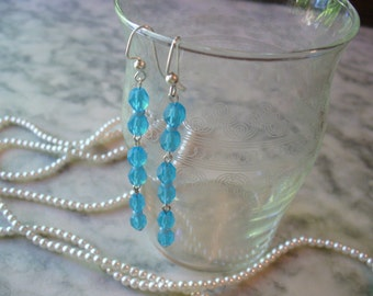 Long Dangle Earrings, Blue Frosted Earrings, Aquamarine Earrings, Frosted Blue Earrings,Jewelry,Womens Jewelry,Silver Earrings,Aqua Earrings