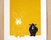 Normal Rabbit, Tiny Rhinoceros - Limited edition, hand-pulled screen print of a rabbit and a rhinoceros & their relationship, yellow, black
