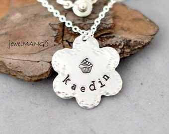 Name Necklace, flower necklace, Hand Stamped Personalized Necklace, kids, cupcake, girl, custom jewelry,gifts for flower girl,metal stamping