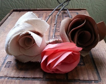 Single Fabric Rose with a Birch Stem