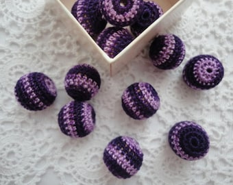 12 pcs-16 mm beads-crocheted bead-colorful beads-round beads-crochet ball beads-beads crochet-embellishment-wooden crochet cotton yarn beads