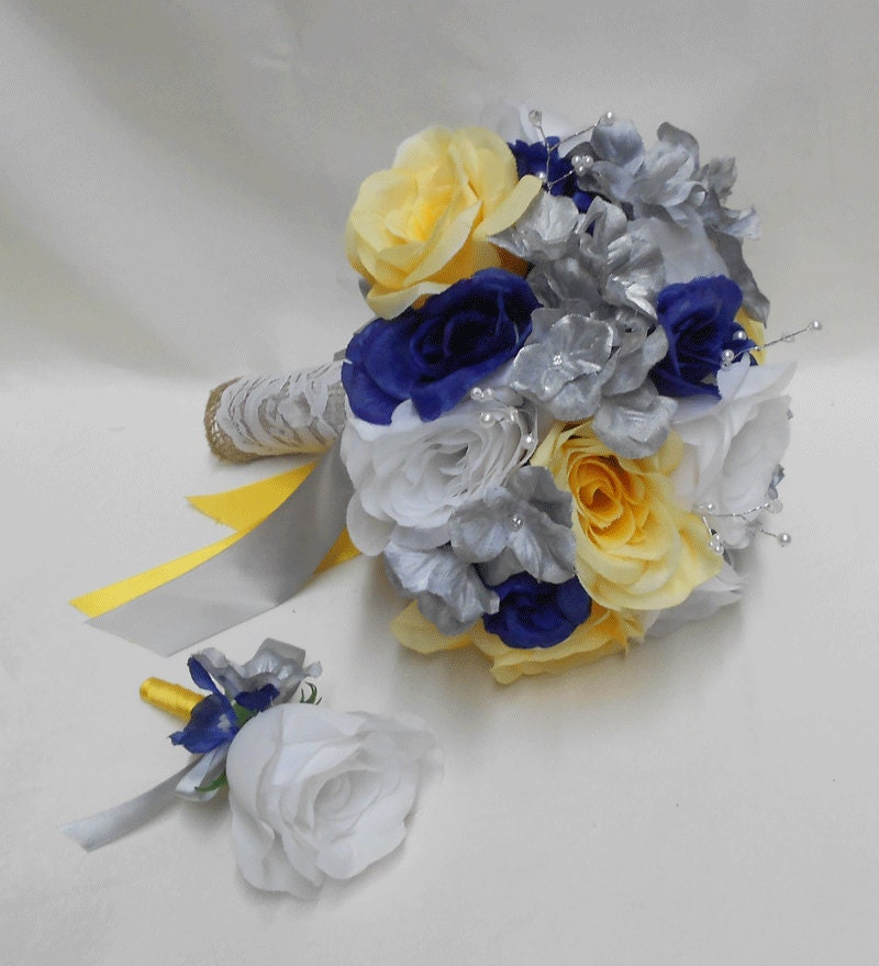 Black And Yellow Wedding Flowers: Wedding Navy Blue Yellow White Bridal Bouquet Silk By