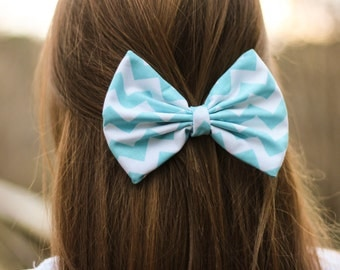 Mint/Blue Chevron/Zig-Zag Printed Hair Bow
