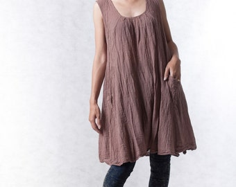 NO.19 Dusty Pink Cotton Tunic Pleated Front Long Top, Tank Top