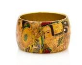 Handmade Jewelry.Colorful Bracelet Inspired by Gustav Klimt.Wooden Bangle with Swarovski Crystals.Green,Yellow,Gold,Collage,Decoupage.