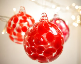 Crimson Red Blown Glass Christmas Ornament