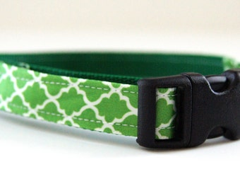 Green Dog Collar Adjustable Sizes (XS, S,  M)