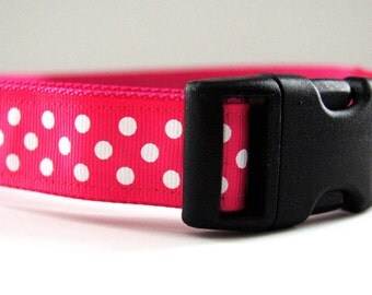 Pink Polka Dot Dog Collar Adjustable Sizes (M, L, XL)