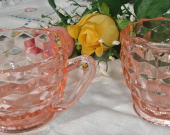 Depression Glass, Pink Depression glass, Cream and Sugar set, vintage 1950s, retro table setting, Collectible glass, Set of 2, Tea, Coffee