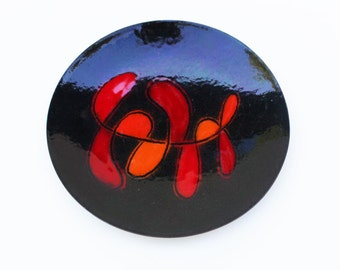 Enamel Plate Calder Like Red Orange and Black Enamel on Copper Plate