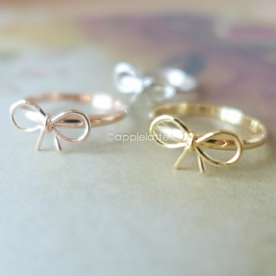 items similar to tiny small cute bow ring in gold silver