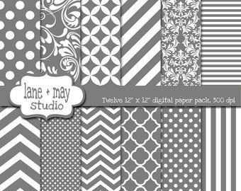digital scrapbook papers - medium gray and white patterns - variety pack - INSTANT DOWNLOAD