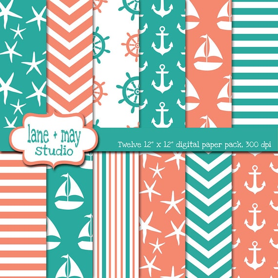 Digital Scrapbook Papers Coral Pink And Teal Green Nautical