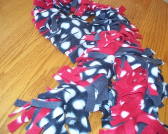 FLUFFY FLEECE SCARVES - Red White Grey and Black - School Colors