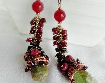 Sphene, Rough Green Sphene, Green Sphene Earrings, Ruby Long Earrings, Garnet Long Earrings