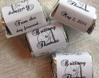 120 MONOGRAM THEMED Hershey Nugget wrappers/stickers/labels for Wedding or Party (Personalized Favors) for any party/event