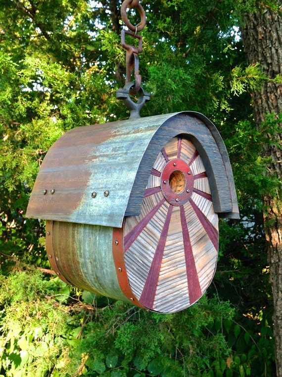 The Egg: Modern Birdhouse Made of Reclaimed Barn Wood and Tin Roofing--MADE TO ORDER